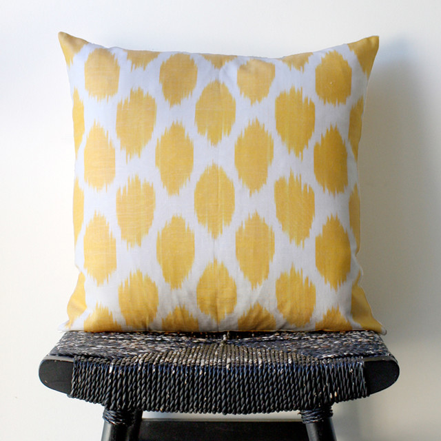 Yellow Dot Uzbek Ikat Pillow eclectic pillows
