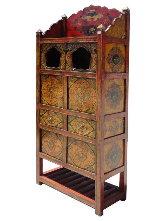 Tibetan Altar Temple Offer Display Storage Cabinet -
