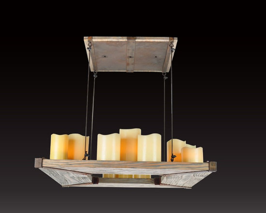 Verona Wood and Iron Light Collection - Verona is our collection of hand made distress wood and iron lighting designs that have wide hollow beeswax candles with electrical sockets inside them for the light bulbs, to produce a soft warm glow in any room that are included.