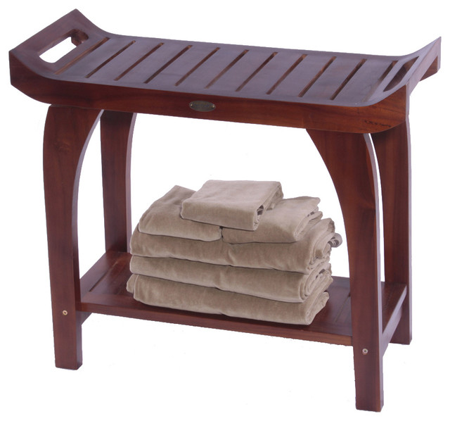 Tranquility Teak 30 In Extended Height Bench Contemporary
