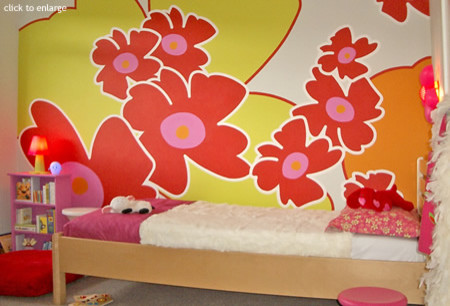 childrens wallpaper murals, interior design by funky little Darlings - contempo modern kids