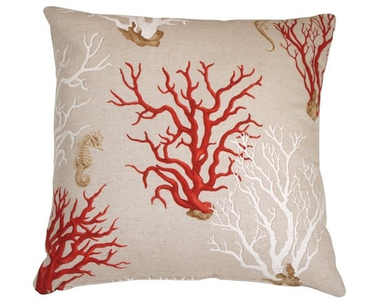 Pillow Decor - Pillow Decor - Red Coral 21 x 21 Decorative Pillow - Sea horses drift among red and white coral formations on this classic aquatic theme throw pillow. The fabric is a machine washable, soft cotton blend in a natural sandy beige color. The effect is as striking and peaceful as a the still waters of a sunny tropical reef.