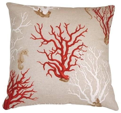 Pillow Decor - Red Coral 21 x 21 Decorative Pillow beach-style-decorative-pillows