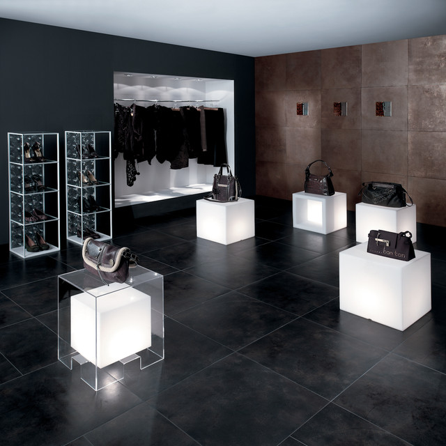 Mirage Workshop - Dark Tile Floor - Metallic Tile modern floor tiles