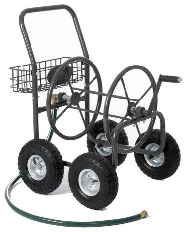 Residential Grade 4-Wheel Garden Hose Reel Cart With 250-Foot-Hose Capacity contemporary gardening tools