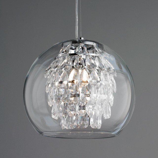 Glass Globe & Crystal Pendant Light