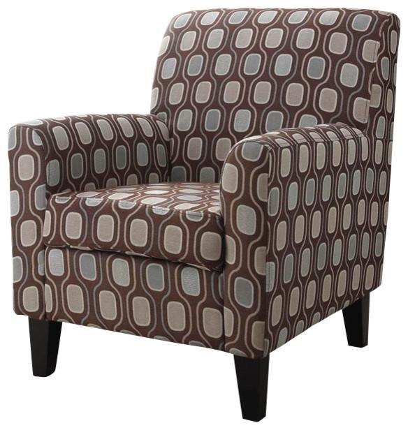 Armen Living Fiesta Cream Circles Fabric Club Chair modern-armchairs-and-accent-chairs