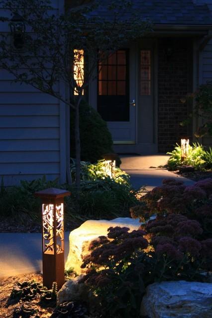 Modern Outdoor Lighting Design: Decorative Steel Bollard Lights