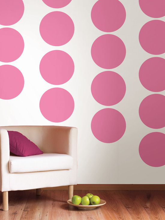 """Flirt Dots Set of Wall Decals - Who says girls don't like pink? Flirt, the perfect pink...not too bright not too hot! This pack comes with twenty 13"""" Flirt pink dots. All WallPops are repositionable and always removable."""
