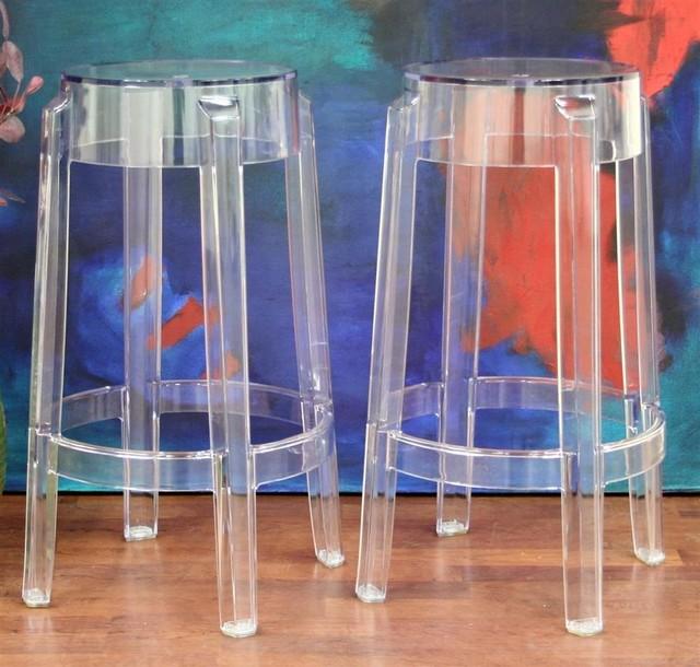 Baxton Studio Liana Acrylic Stools In Clear Set Of 2