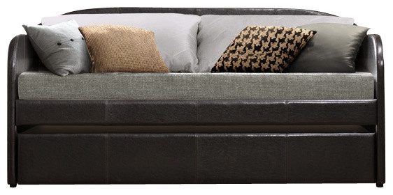 Modern Design Dark Brown Finish Daybed With Twin Trundle modern-day-beds-and-chaises