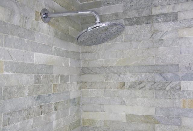 Island stone himachal white strip tile bath modern tile other metro by island stone