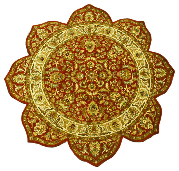 Star Design Area Rug, 8X8 Hand Knotted Thick & Plush Round