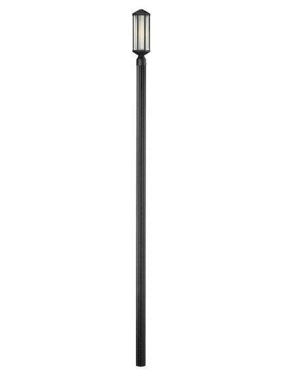 Joshua Marshal - One Light Black Matte Opal Glass Post Light - Finish: Black