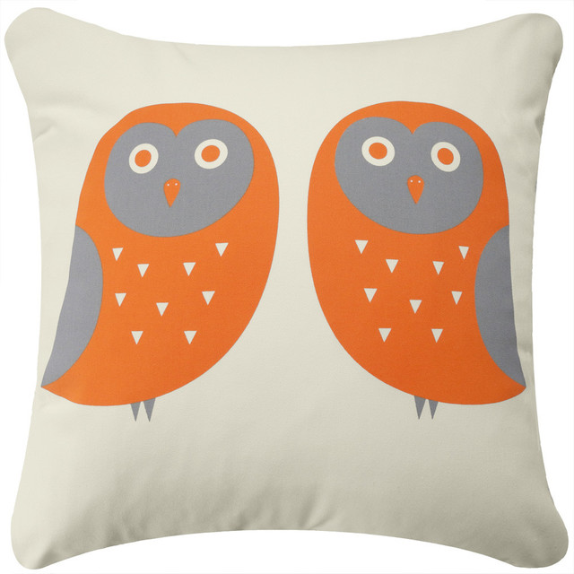 owl eco pillow orange gray cream with insert contemporary decorative pillows by wabisabi. Black Bedroom Furniture Sets. Home Design Ideas