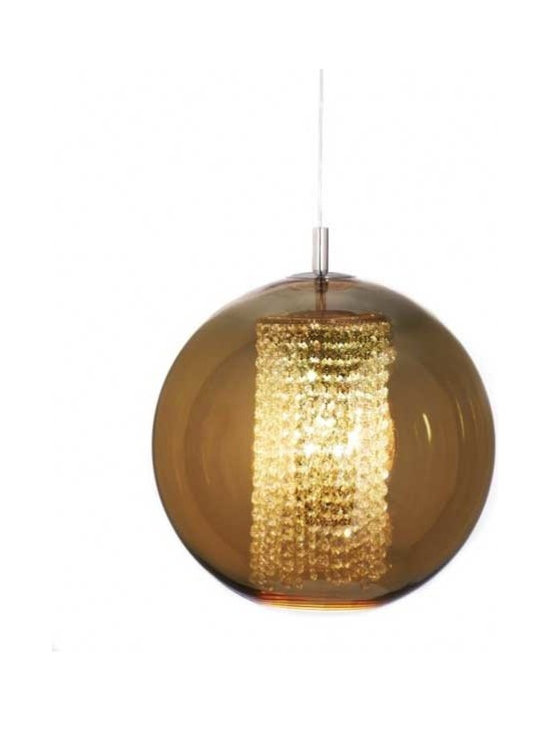 Viso - Ulee Suspension - Ulee Suspension is made of a Copper, Silver, or Gold semi-metalized polycarbonate globe and Ashfour Crystal cascades, portraying a modern interpretation of the aristocrat Noble, well-mannered, intelligent, and gentle. Finish in Chrome. Available in Small, Medium, and Large sizes. One 60 watt, 120 volt A19 type Medium base incandescent bulb is required, but not included. Small: 11.8 inches wide x 11 inches high x 117 inch maximum length. Medium: 15.7 inches wide x 14.9 inches high x 117 inch maximum length. Large: 19.7 inches wide x 18.9 inches high x 117 inch maximum length.