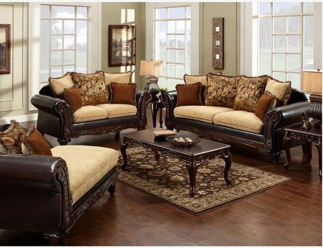 Traditional Espresso Fabric Leather Sofa Loveseat Pillows