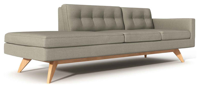 TrueModern Luna 94 One Arm Sofa With Chaise Modern Indoor Chaise Lo