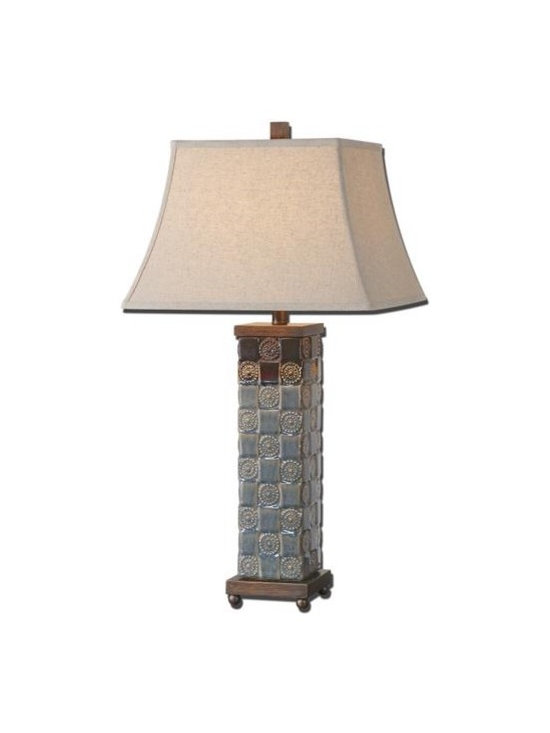 Uttermost Mincio - Textured ceramic base finished in a distressed dark blue glaze with a dark bronze drip. The square bell shade is an oatmeal linen fabric with natural slubbing.