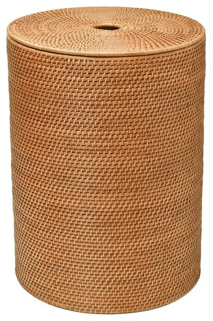 Round rattan hamper with cotton liner honey brown contemporary hampers other metro by - Wicker hamper with liner ...