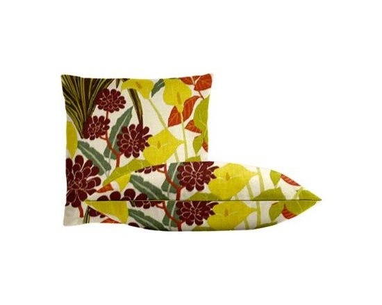 """Cushion Source - Rowlily Jungle Floral Throw Pillow Set - The Rowlily Jungle Floral Throw Pillow Set consists of two 18"""" x 18"""" throw pillows with a beautiful floral pattern in chartreuse, wine, rust, and jungle green on an off-white background."""