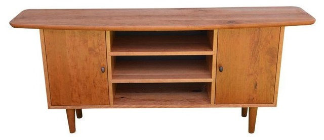 Pre-owned Mid-Century Style Cherry Wood Media Cabinet - Midcentury - Media Cabinets - by Chairish