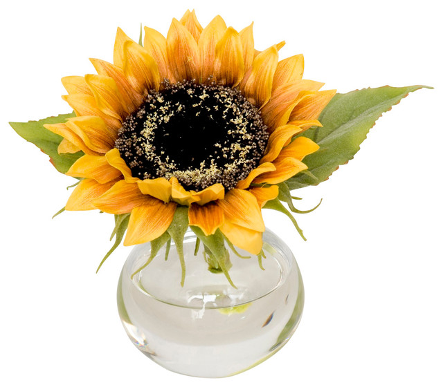 Faux Sunflower In Bubble Vase Traditional Artificial