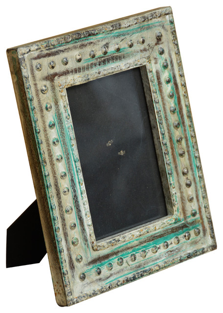 Antique Style Reclaimed Wood Metal Bead Table Top Photo Picture Frame - Rustic - Picture Frames ...