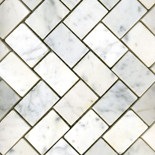 White Carrara Herringbone Honed traditional bathroom tile
