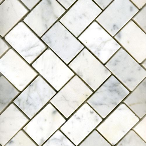 White Carrara Herringbone Honed Traditional Tile Other Metro