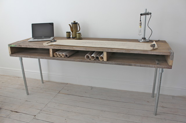 Reclaimed Scaffolding Board Industrial Chic Extra Long Desk with Built ...