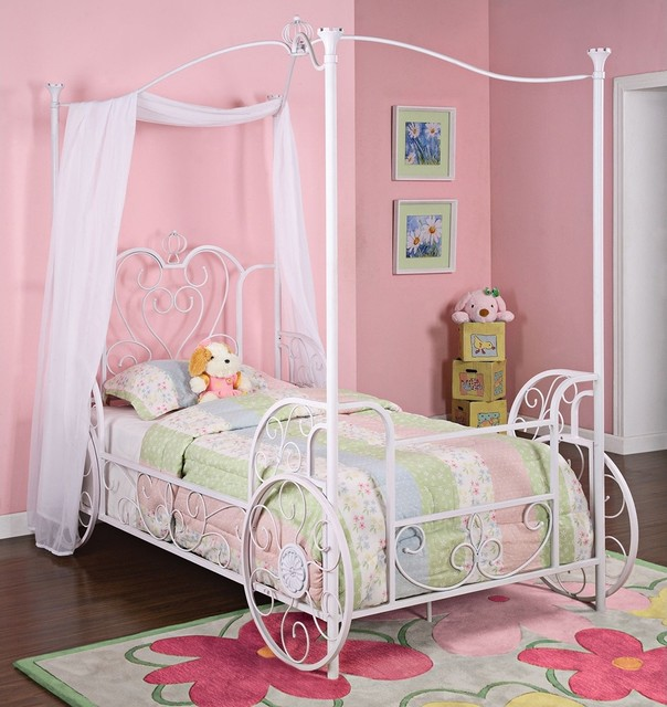 Kids Princess Emily White Carriage Canopy Bed (Twin) traditional-beds