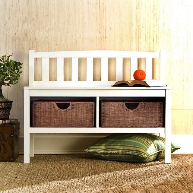White Bench With Rattan Storage Baskets Traditional Furniture By Hayneedle