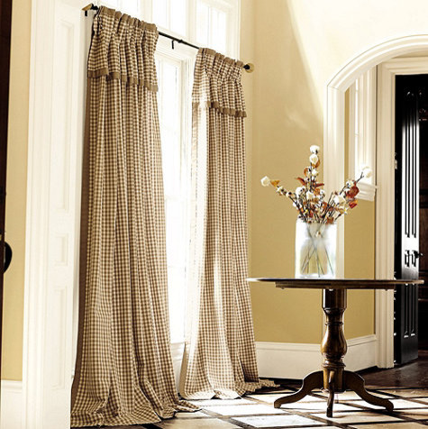 Check Panel with Valance - traditional - curtains - - by Ballard ...
