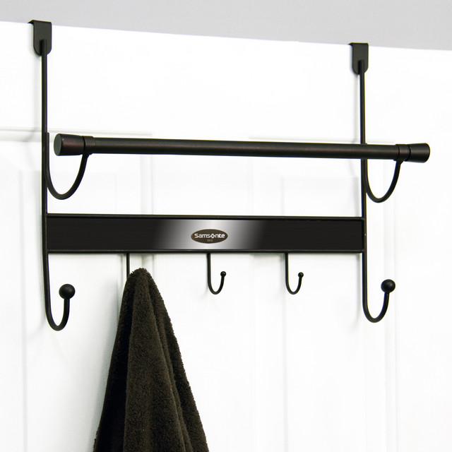 samsonite orb and bronze 5 hook over the door hanger and towel bar contemporary towel bars. Black Bedroom Furniture Sets. Home Design Ideas