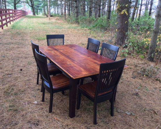 """Farm Tables - 72"""" x 40"""" reclaimed white pine farmhouse table with matching hearth-style solid cherry chairs."""