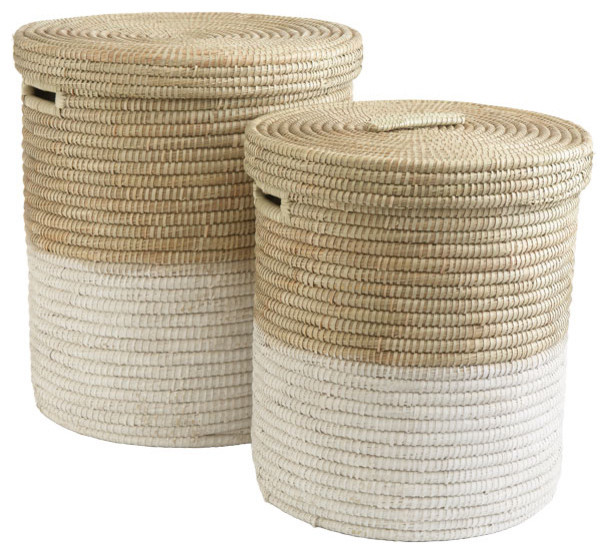 White Dipped Round Baskets tropical baskets