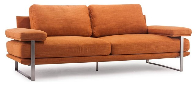86.6 in. Upholstered Sofa in Sunkist Orange contemporary-sofas