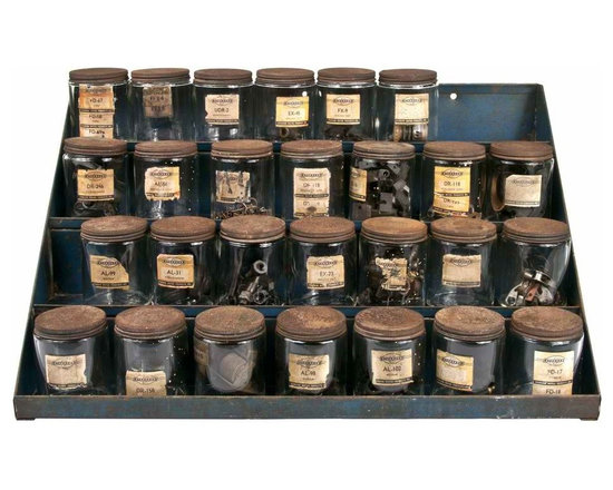 Automotive Parts Jar Storage Shelf - Large four-tier blue metal shelf with 27 Standard and Niehoff automotive parts storage jars. Most jars include the original parts and have the original labels intact.