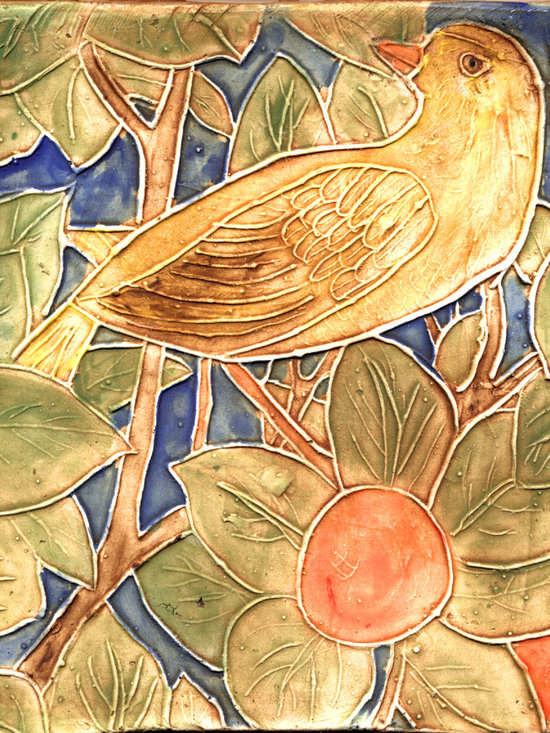 """William Morris Yellow Bird Tile - The Yellow Bird handmade porcelain tile was inspired by William Morris' 1888 Woodpecker Tapestry. This tile is 6 x 6""""."""