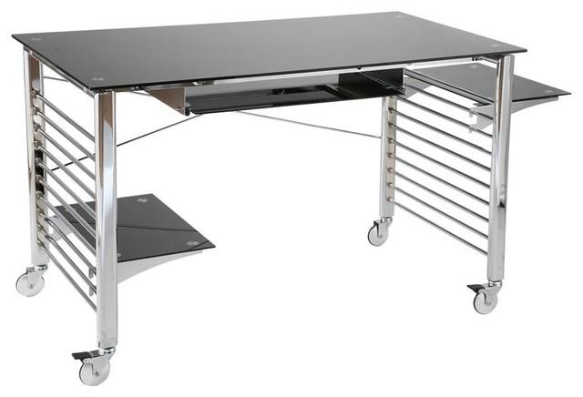 Portable Computer Desk Cart w Black Glass Sur ...
