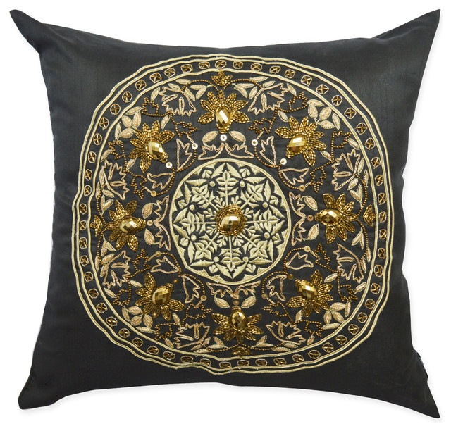 Black White And Gold Throw Pillows : Opulent Zardozi Decorative Pillow, 20 Inch, Black and Gold. - Traditional - Decorative Pillows ...