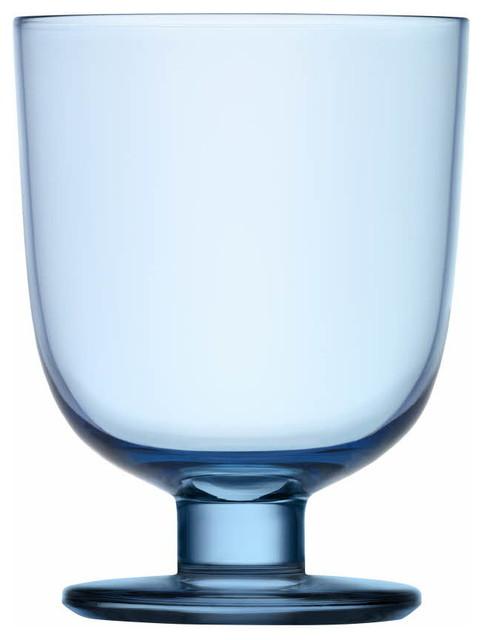 Lempi Universal Glass 10.5 Oz. Clear, Light Blue contemporary-everyday-glassware