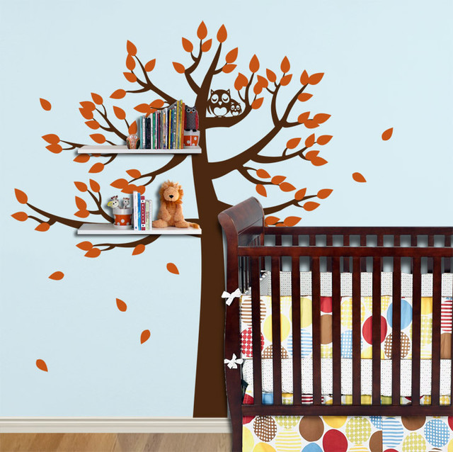 Shelving Tree with Owls contemporary-wall-decals
