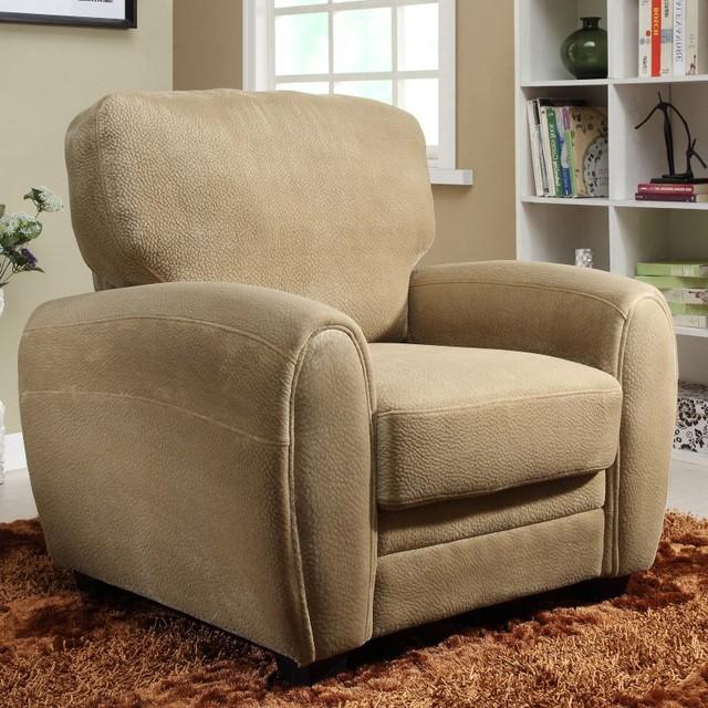 Enria Plush Chair - Brown - 9734BR-1 contemporary-furniture