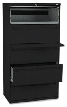 HON 700 Series 36 Inch Four Drawer Lateral File and One Roll Out Shelf ...