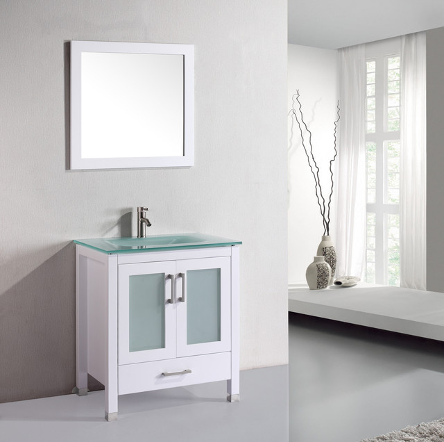 Vanova VA102-30W Cabinet, Basin & Mirror White Vanity modern-bathroom-vanities-and-sink-consoles