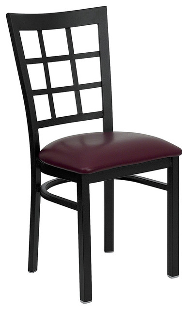 Flash Furniture Hercules Series Black Window Back Metal Restaurant Chair traditional-dining-chairs
