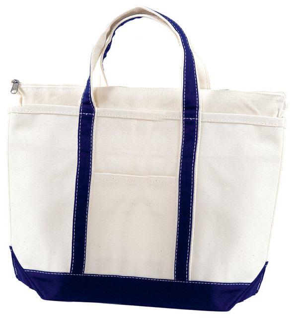 Medium Cotton Heavy Duty Canvas With Navy Finish Boat Tote Bag modern-storage-and-organization