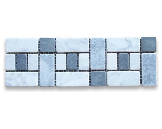 """Stone Center Corp - Carrara Marble Listello Tile Mosaic Border 4x12 Tumbled - Premium Carrara white marble pieces mounted on 4"""" x 12"""" sturdy mesh tile sheet"""